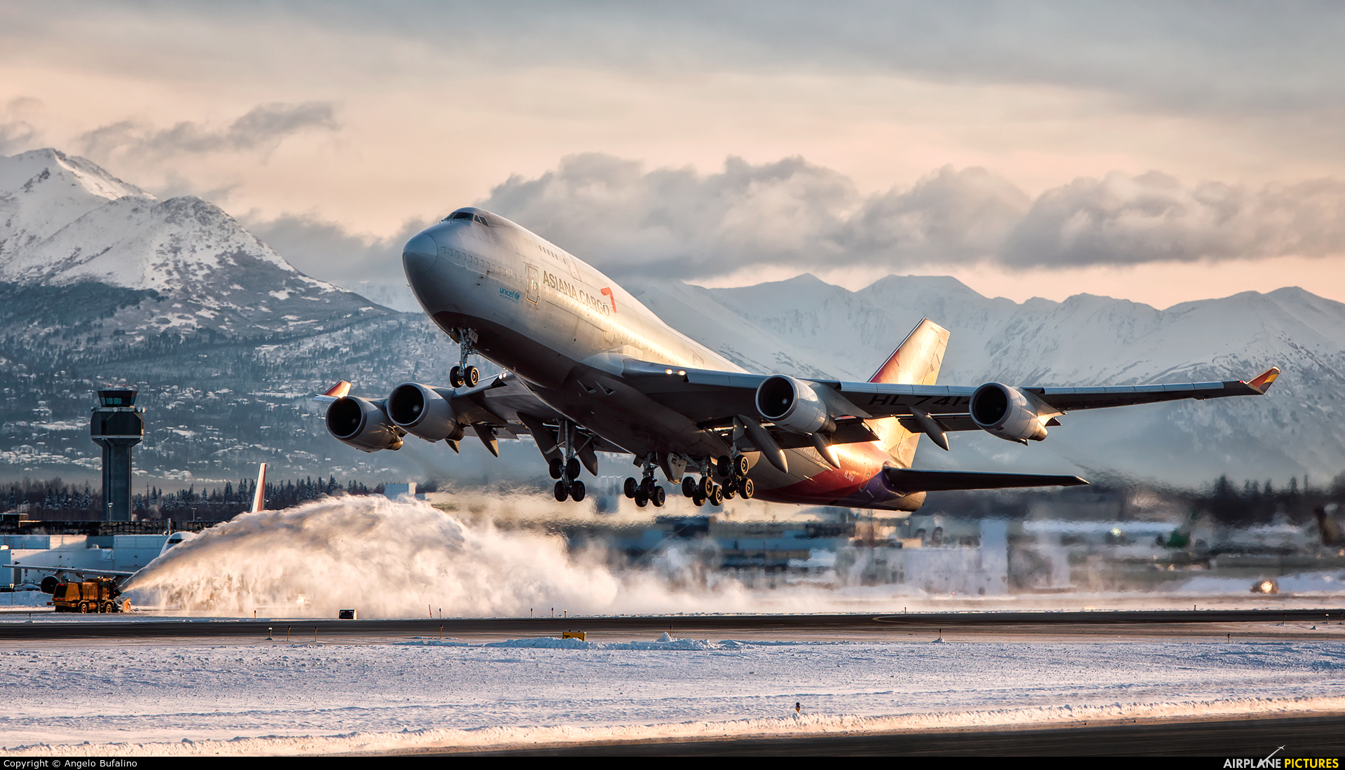Asiana Cargo HL7414 aircraft at Anchorage - Ted Stevens Intl / Kulis Air National Guard Base
