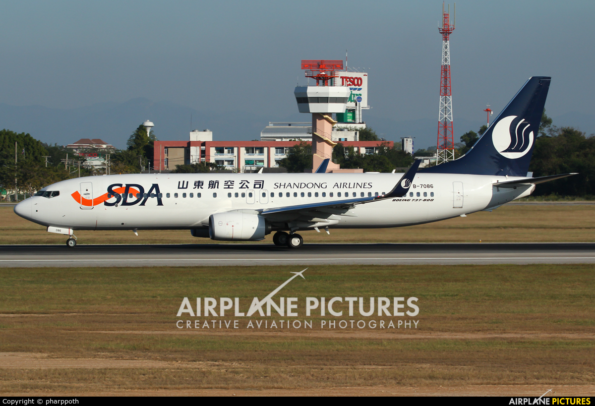 Shandong Airlines  B-7086 aircraft at Chiang-Mai