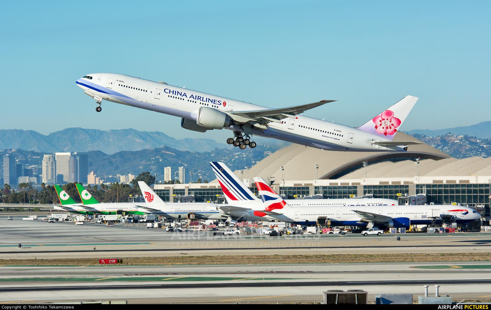 China Airlines B-18052 aircraft at Los Angeles Intl