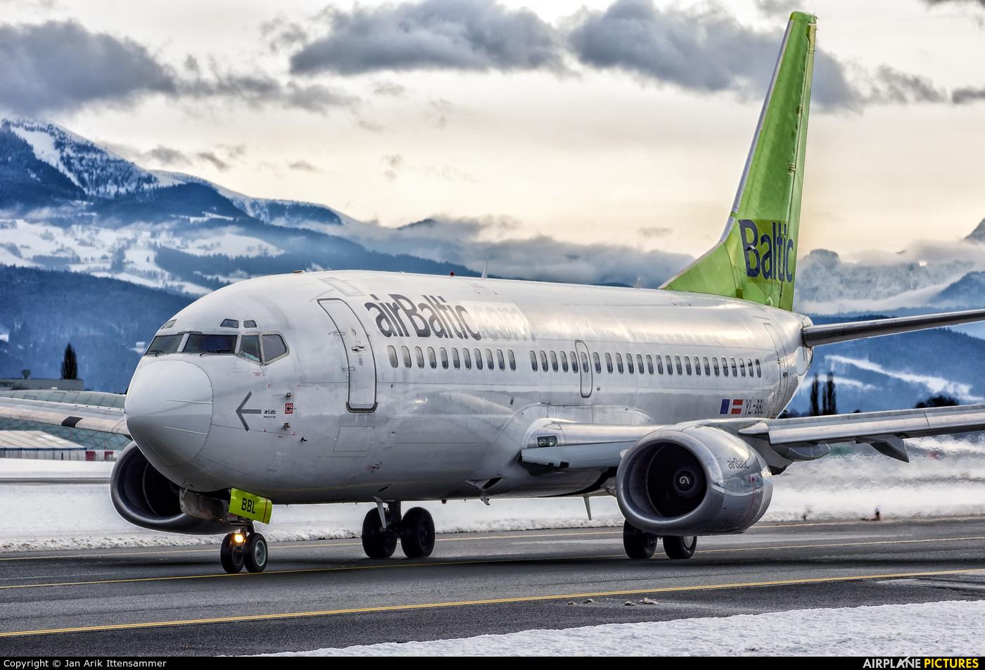 Air Baltic YL-BBL aircraft at Salzburg