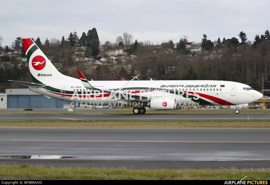 Biman Bangladesh S2-AHV aircraft at Seattle - Boeing Field / King County Intl