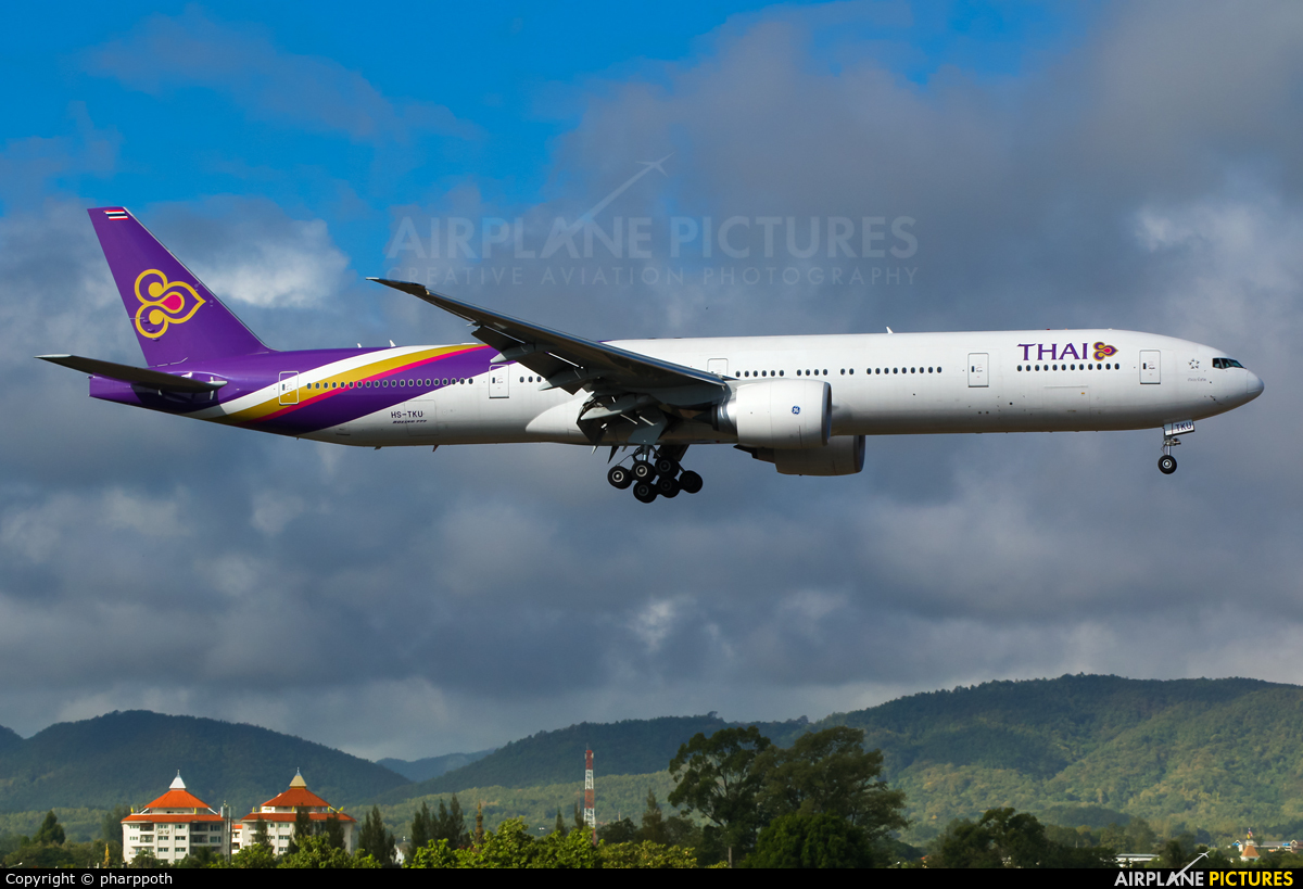 Thai Airways HS-TKU aircraft at Chiang-Mai