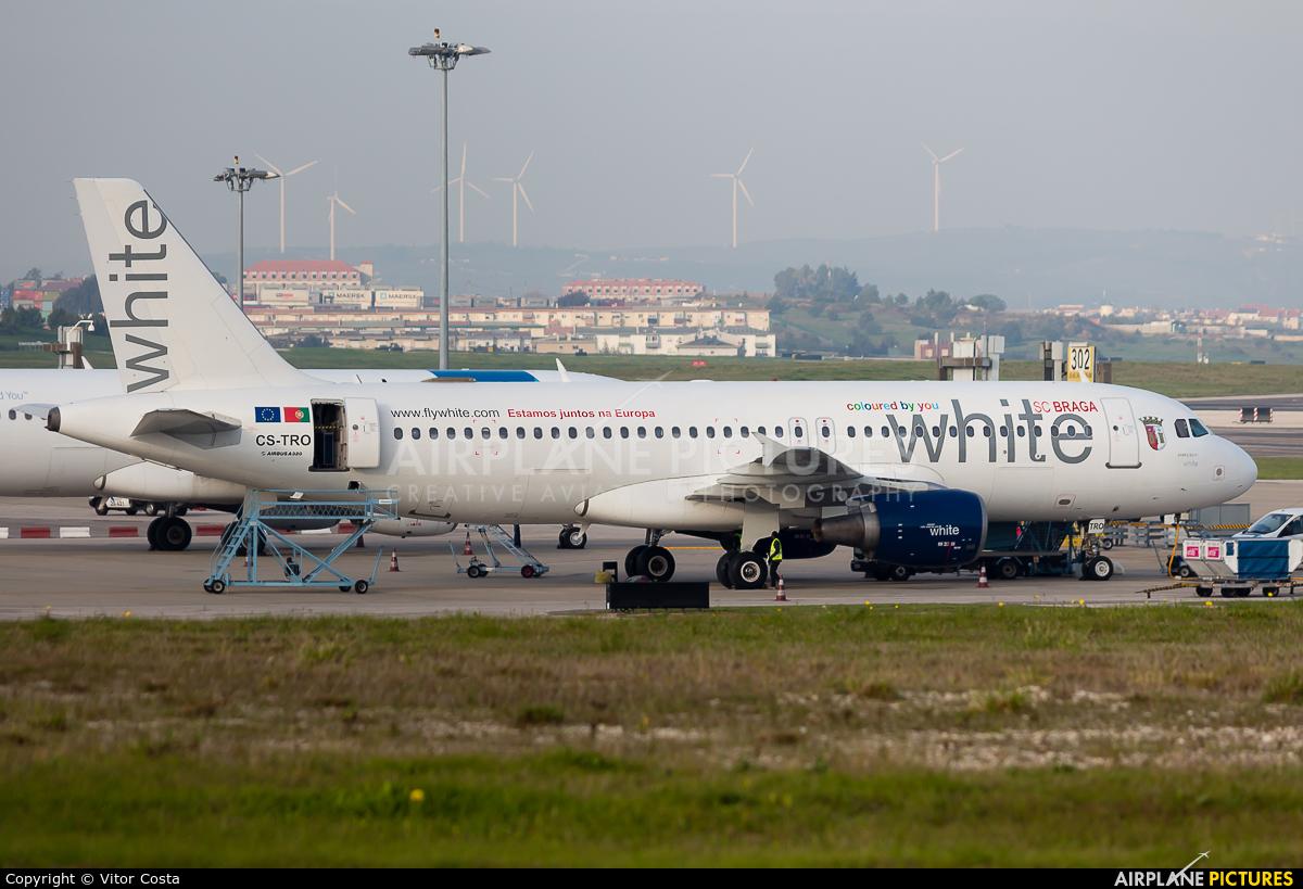 White Airways CS-TRO aircraft at Lisbon