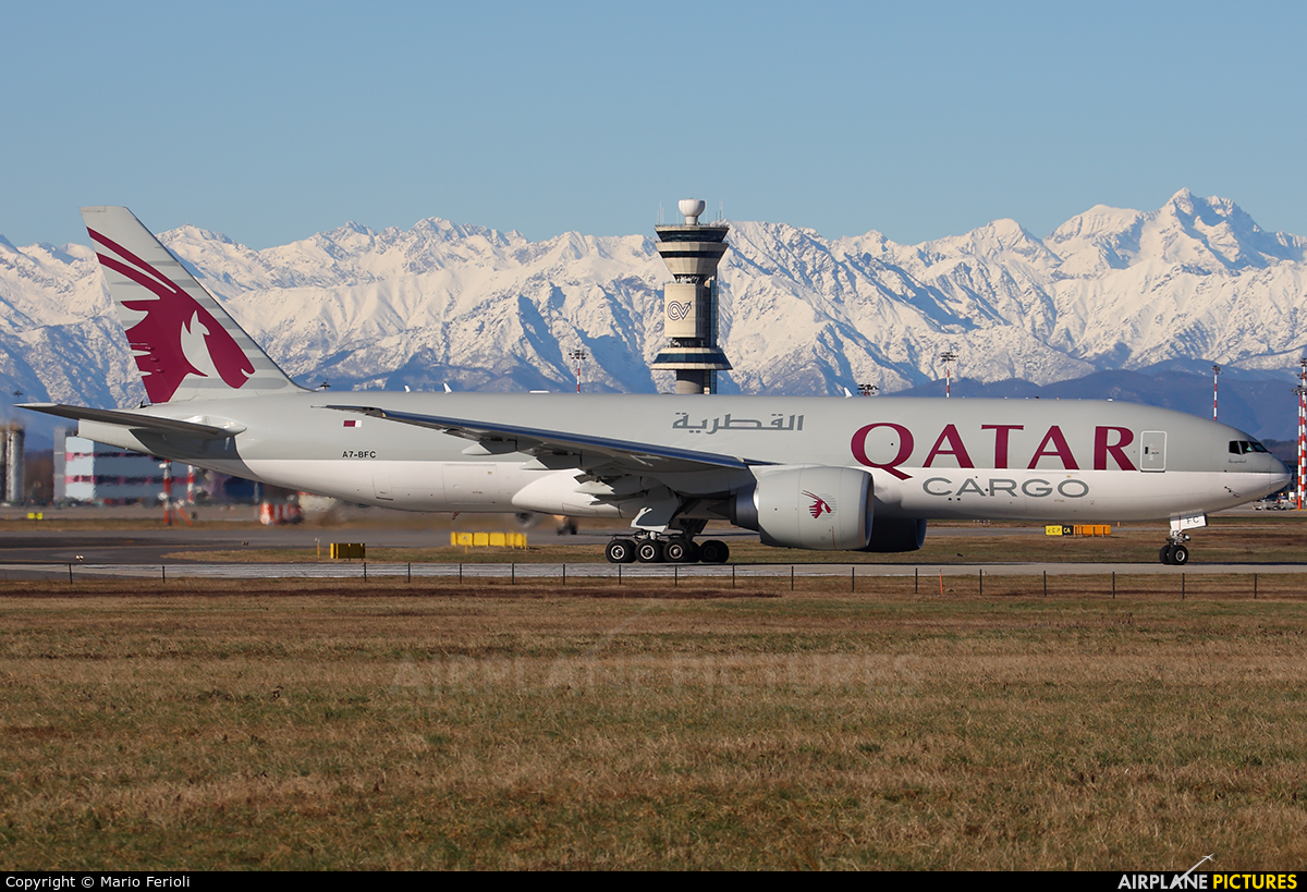 Qatar Airways Cargo A7-BFC aircraft at Milan - Malpensa