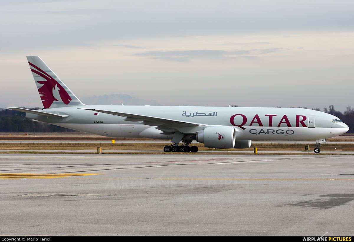 Qatar Airways Cargo A7-BFG aircraft at Milan - Malpensa