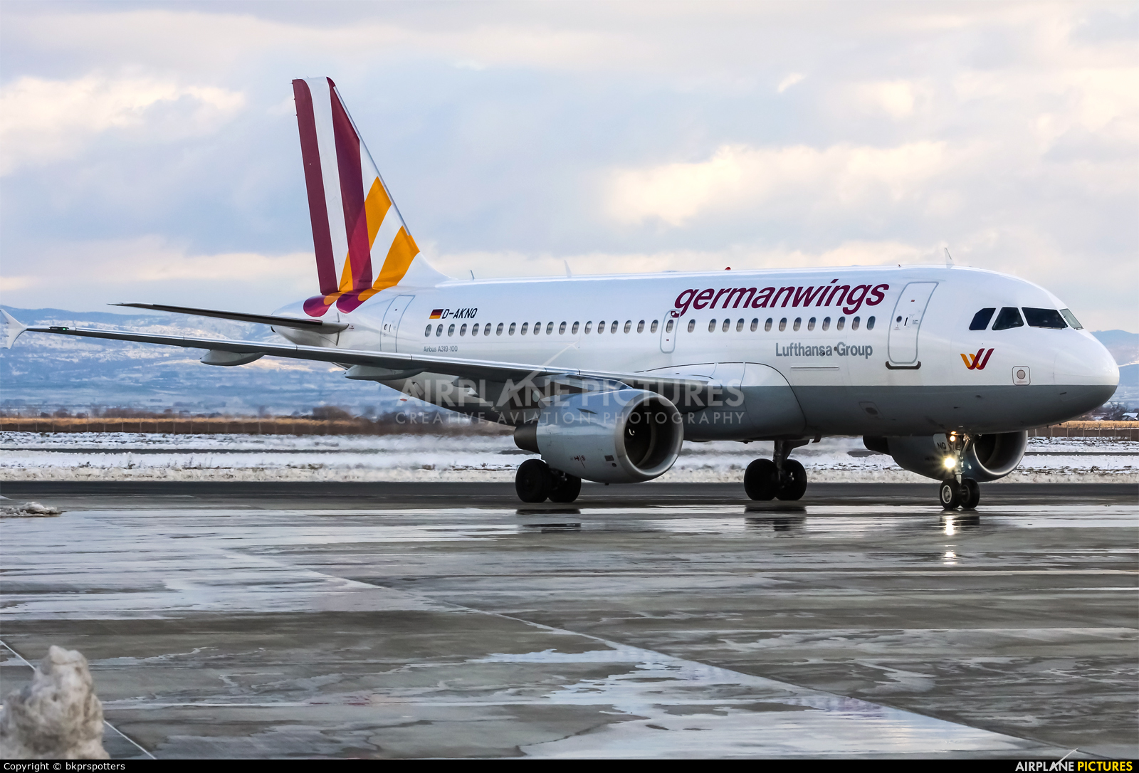 Germanwings D-AKNQ aircraft at Pristina Intl