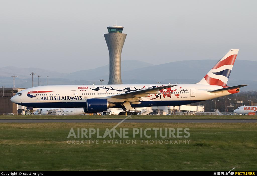 British Airways G-YMML aircraft at Edinburgh