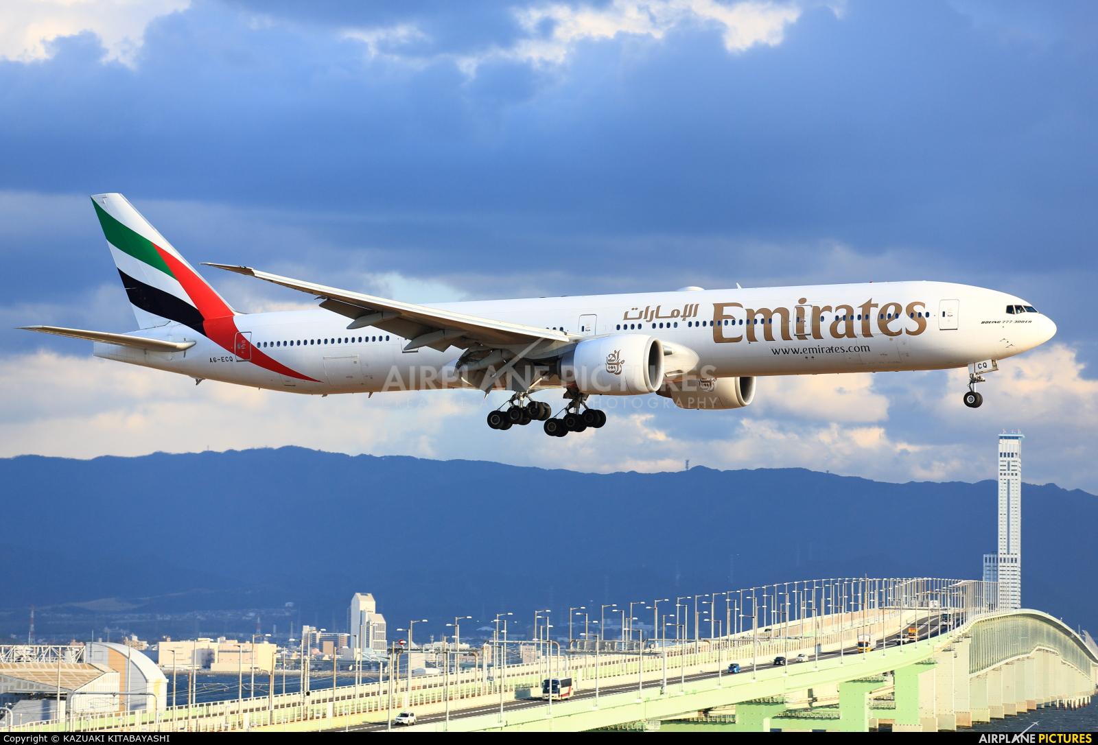 Emirates Airlines A6-ECQ aircraft at Kansai Intl
