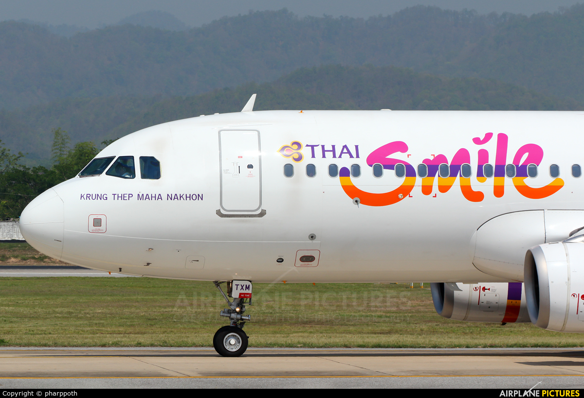 Thai Smile HS-TXM aircraft at Chiang-Mai