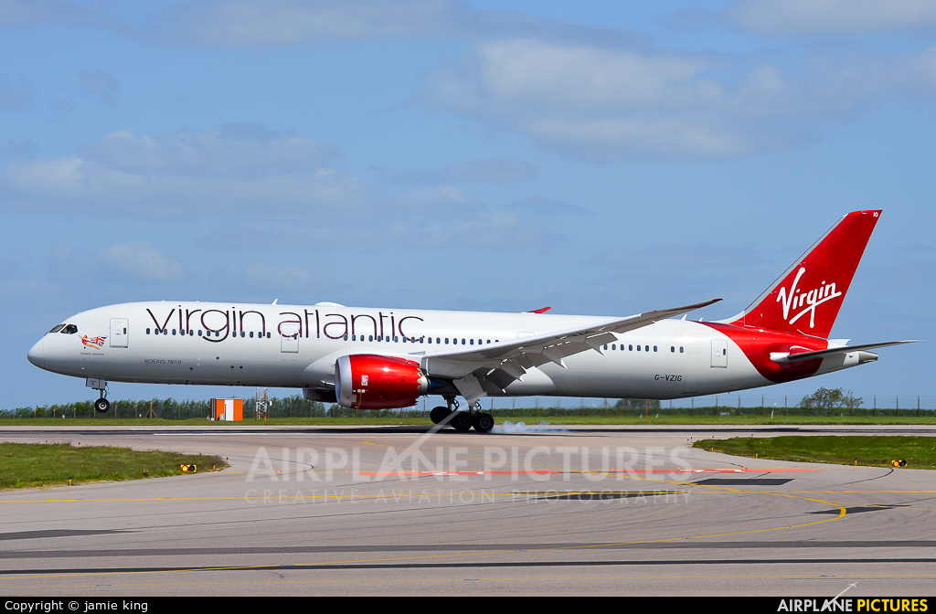Virgin Atlantic G-VZIG aircraft at East Midlands