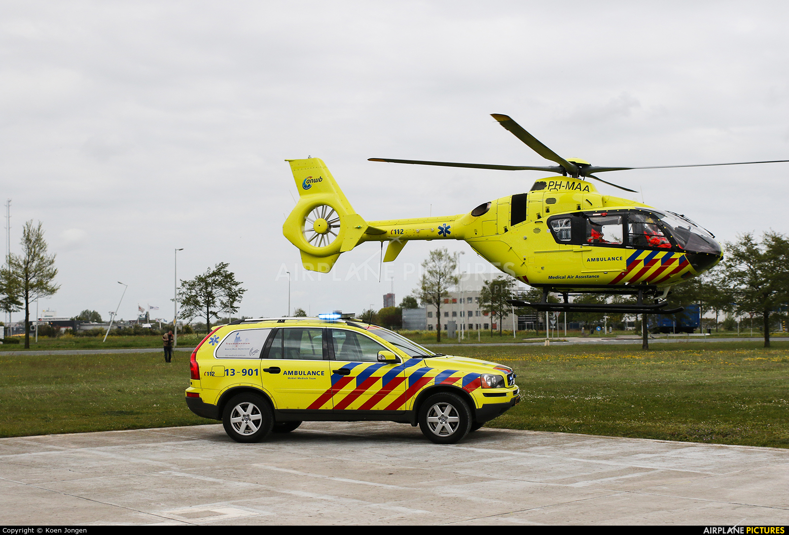 ANWB Medical Air Assistance PH-MAA aircraft at Amsterdam Heliport