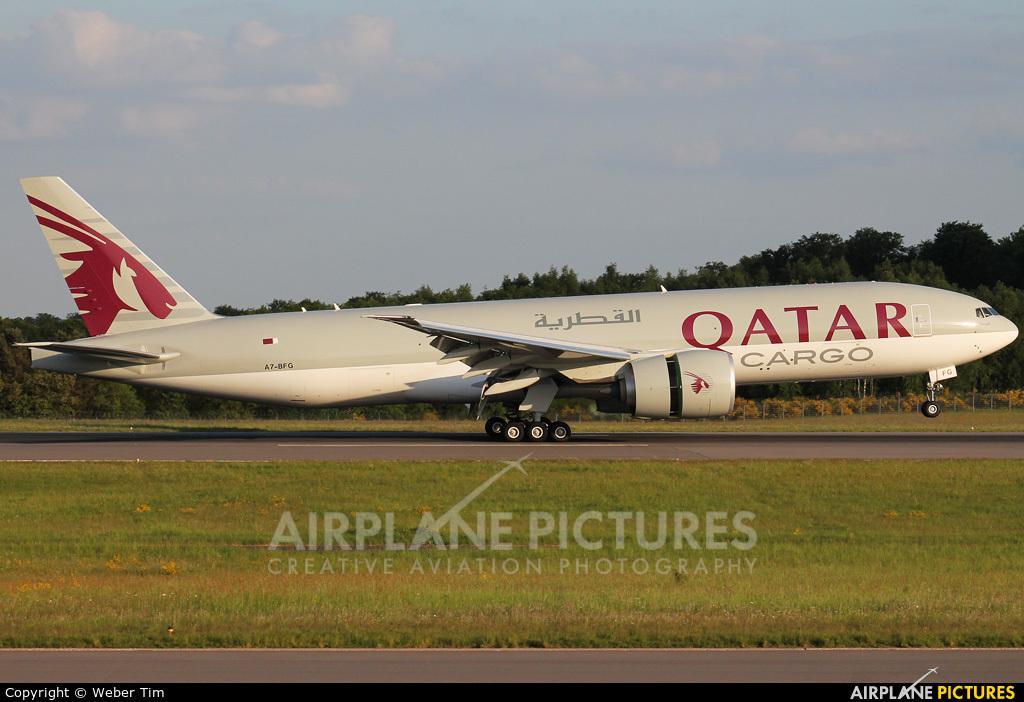 Qatar Airways Cargo A7-BFG aircraft at Luxembourg - Findel
