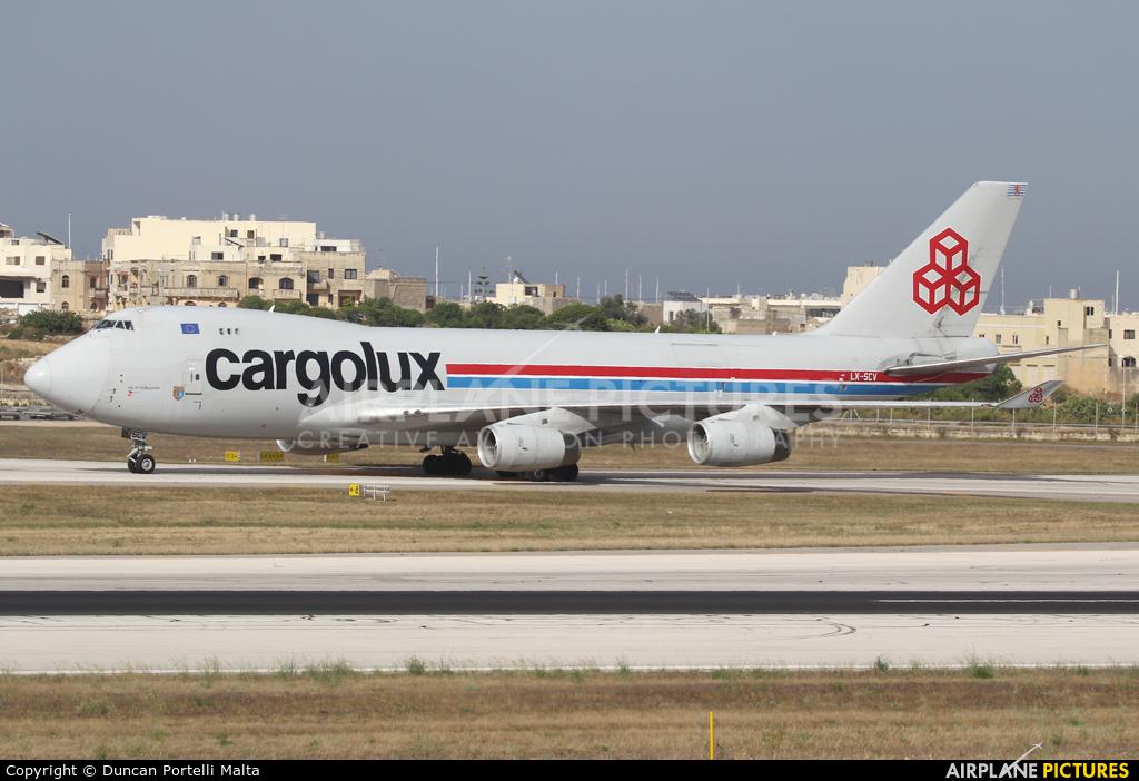Cargolux LX-SCV aircraft at Malta Intl