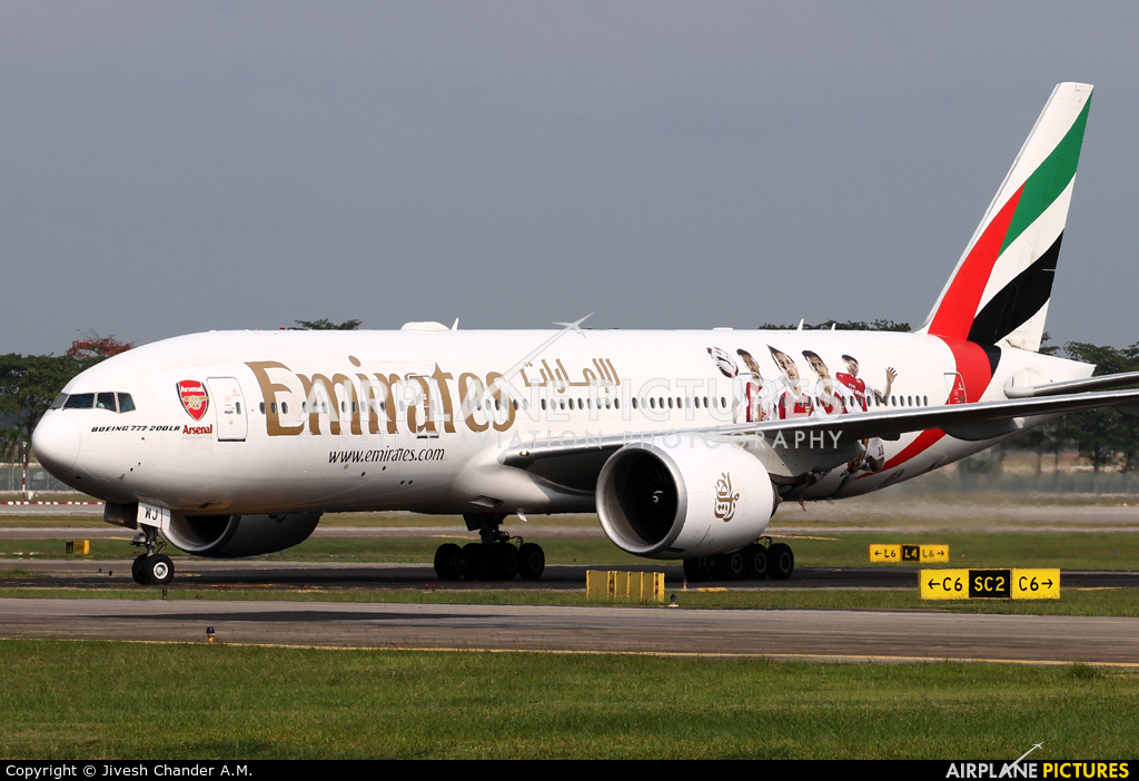 Emirates Airlines A6-EWJ aircraft at Singapore - Changi