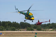 "Helicopter race during ""70 years of peaceful sky"" festival in Belarus title="
