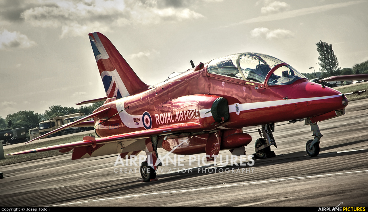 "Royal Air Force ""Red Arrows"" XX323 aircraft at Fairford"