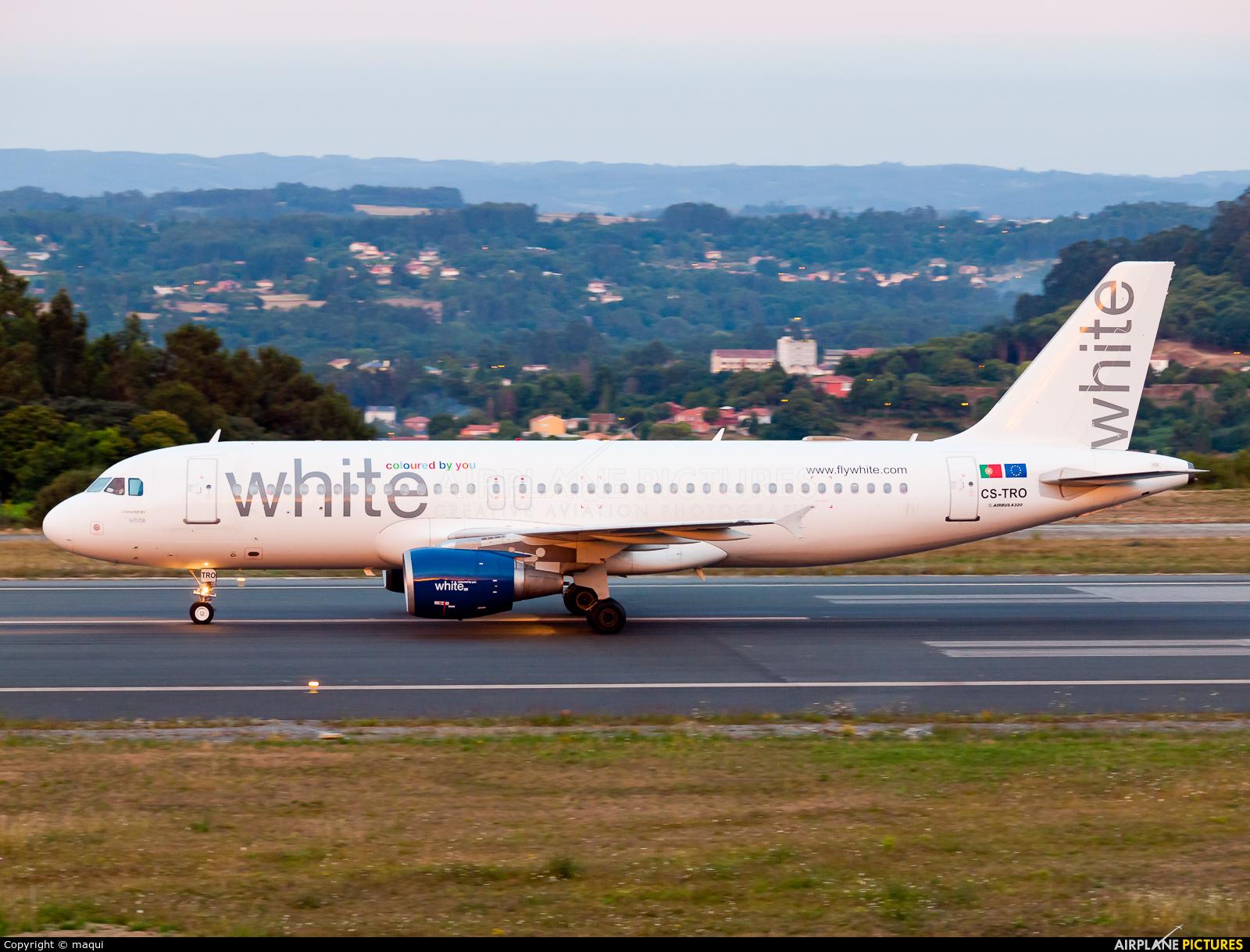 White Airways CS-TRO aircraft at La Coruña
