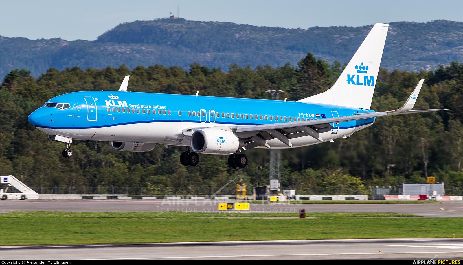 KLM PH-BXW aircraft at Bergen - Flesland