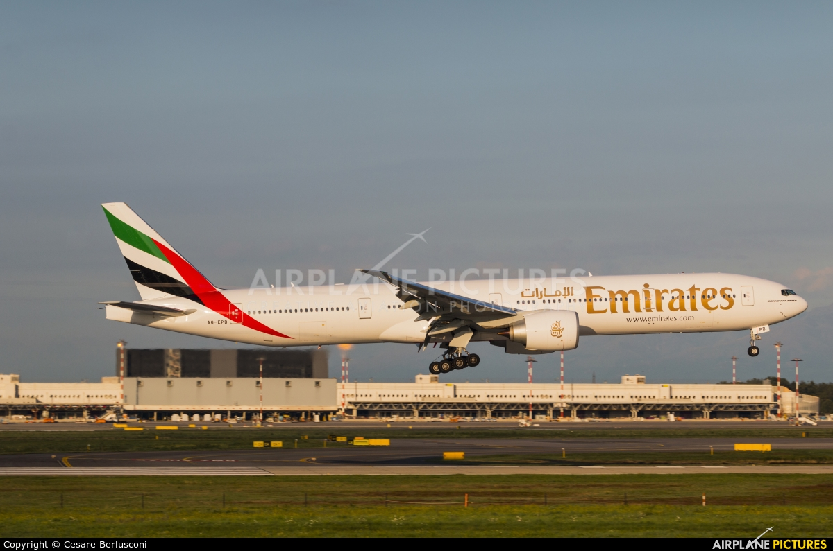 Emirates Airlines A6 EPB aircraft at Milan - Malpensa