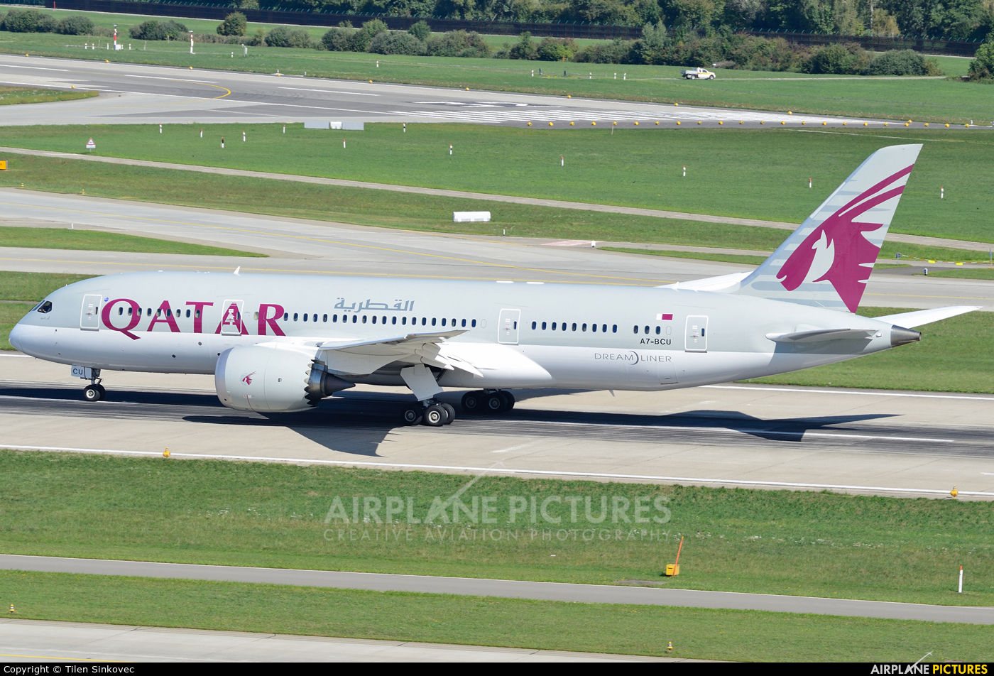 Qatar Airways A7-BCU aircraft at Zurich