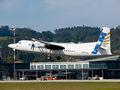 VLM Airlines Fokker 50 OO-VLS at La Coruña airport