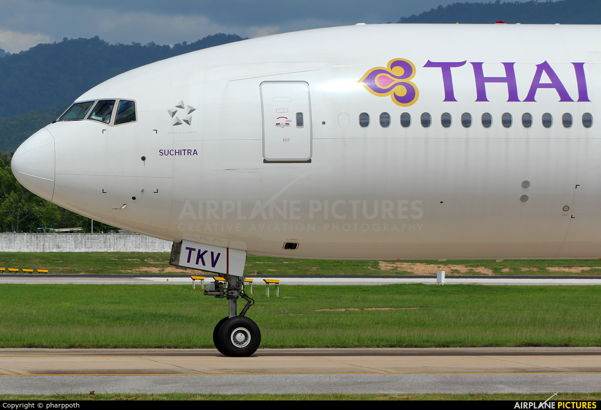Thai Airways HS-TKV aircraft at Chiang-Mai