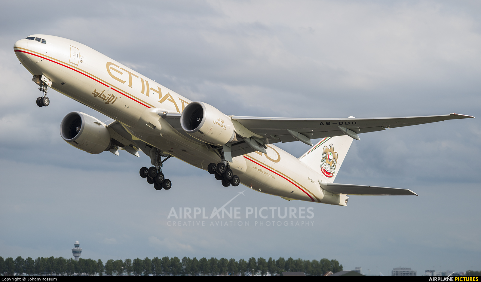 Etihad Cargo A6-DDB aircraft at Amsterdam - Schiphol