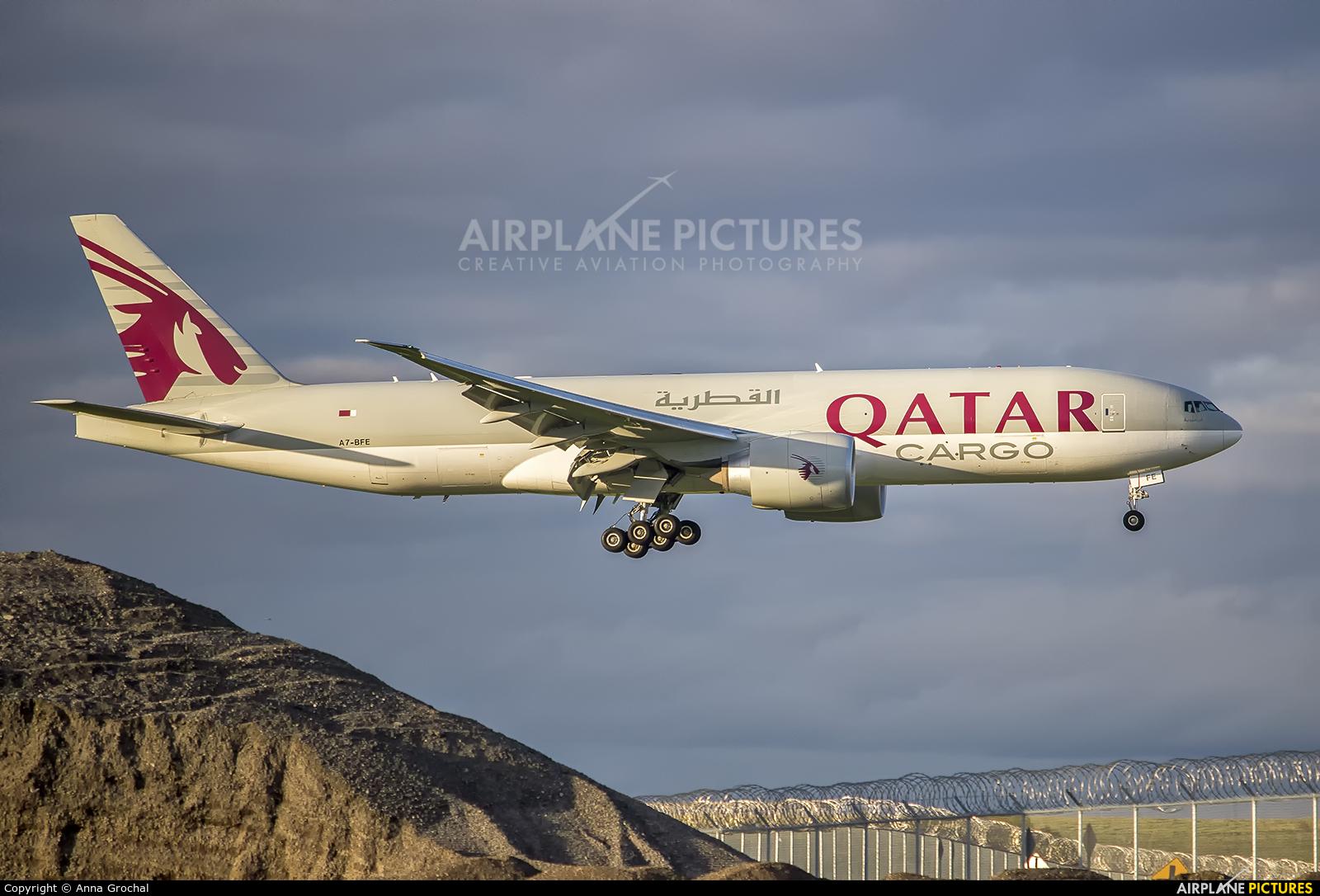 Qatar Airways Cargo A7-BFE aircraft at Chicago - O Hare Intl