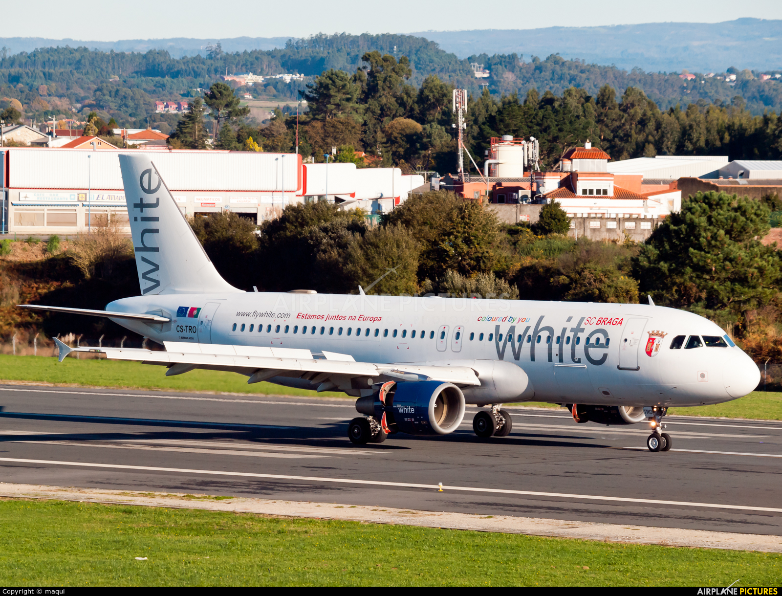 White Airways CS-TRO aircraft at La Coruña