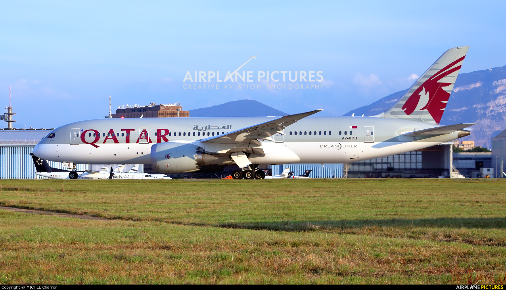 Qatar Airways A7-BCQ aircraft at Geneva Intl
