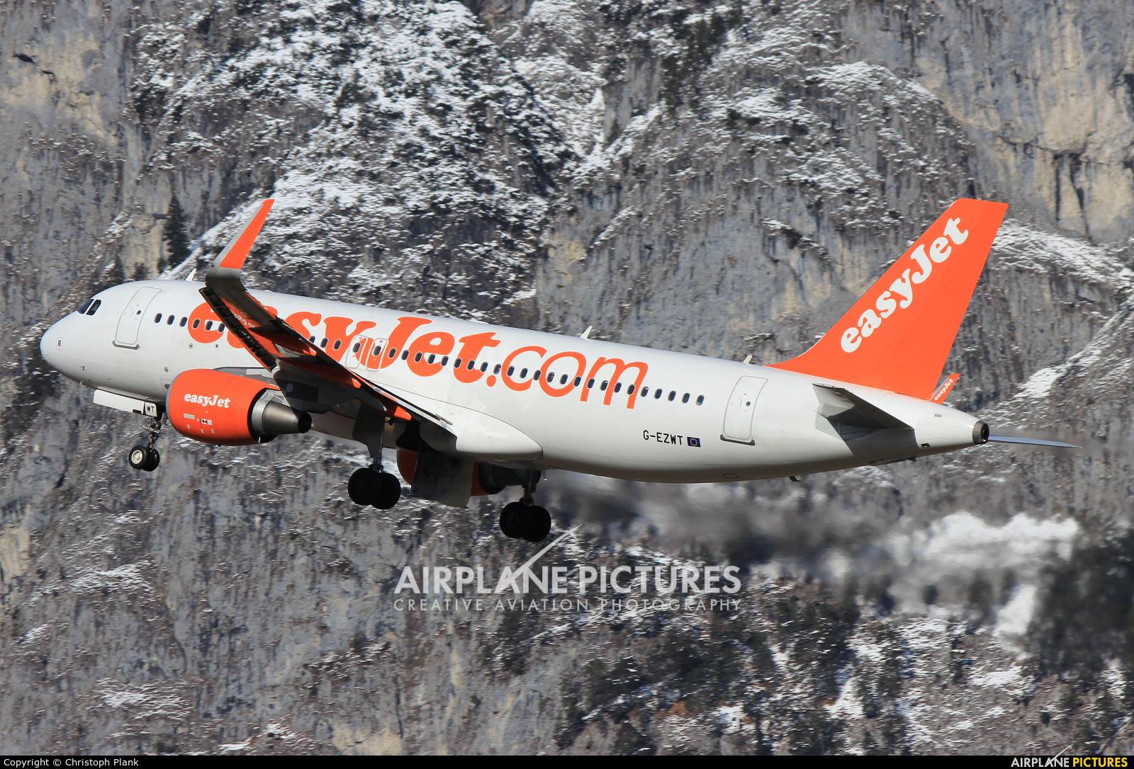 easyJet G-EZWT aircraft at Innsbruck