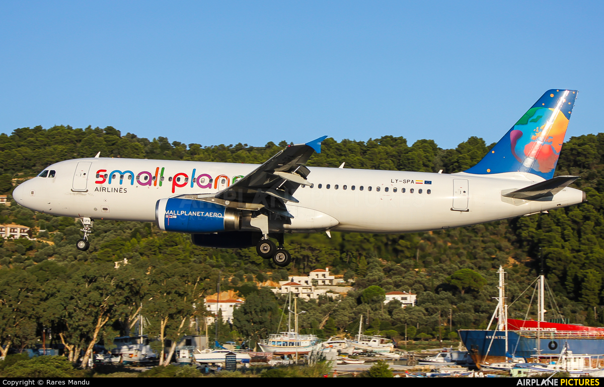 Small Planet Airlines LY-SPA aircraft at Skiathos