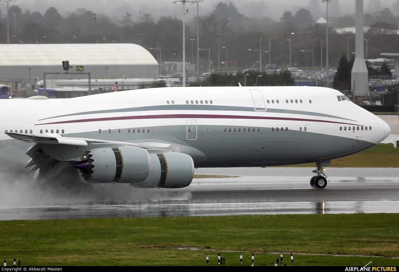 Qatar Amiri Flight A7-HBJ aircraft at London - Heathrow
