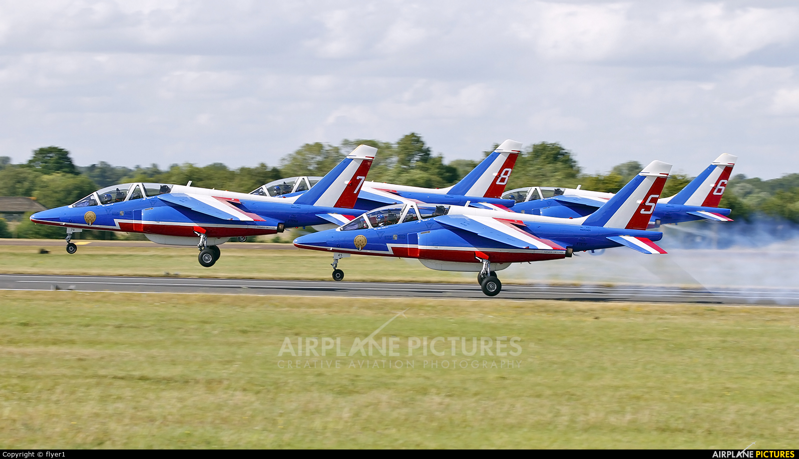 "France - Air Force ""Patrouille de France"" E165 aircraft at Fairford"