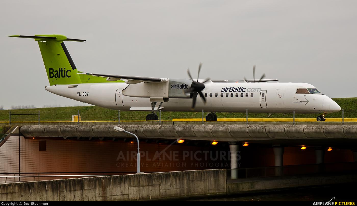 Air Baltic YL-BBV aircraft at Amsterdam - Schiphol