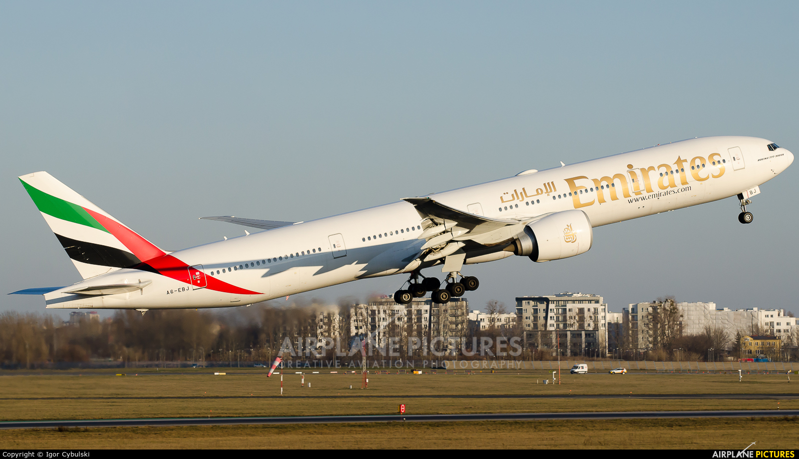 Emirates Airlines A6-EBJ aircraft at Warsaw - Frederic Chopin