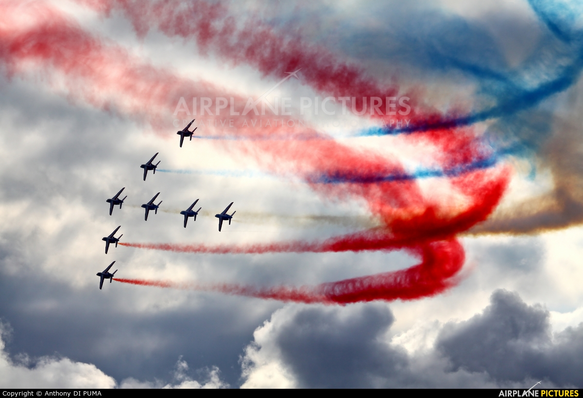 """France - Air Force """"Patrouille de France"""" E62 aircraft at Off Airport - France"""