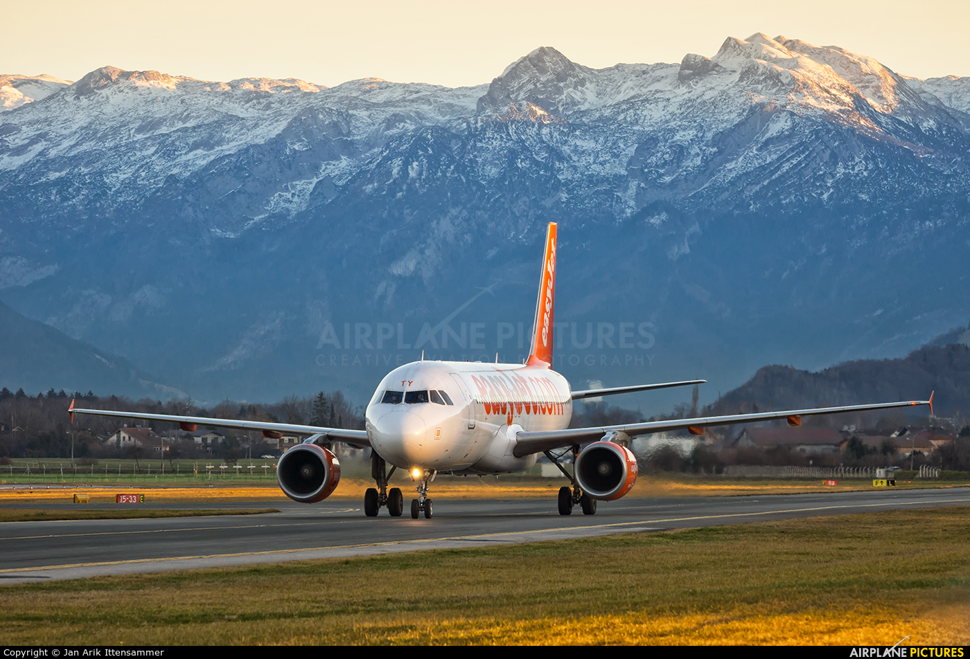 easyJet G-EZTY aircraft at Salzburg