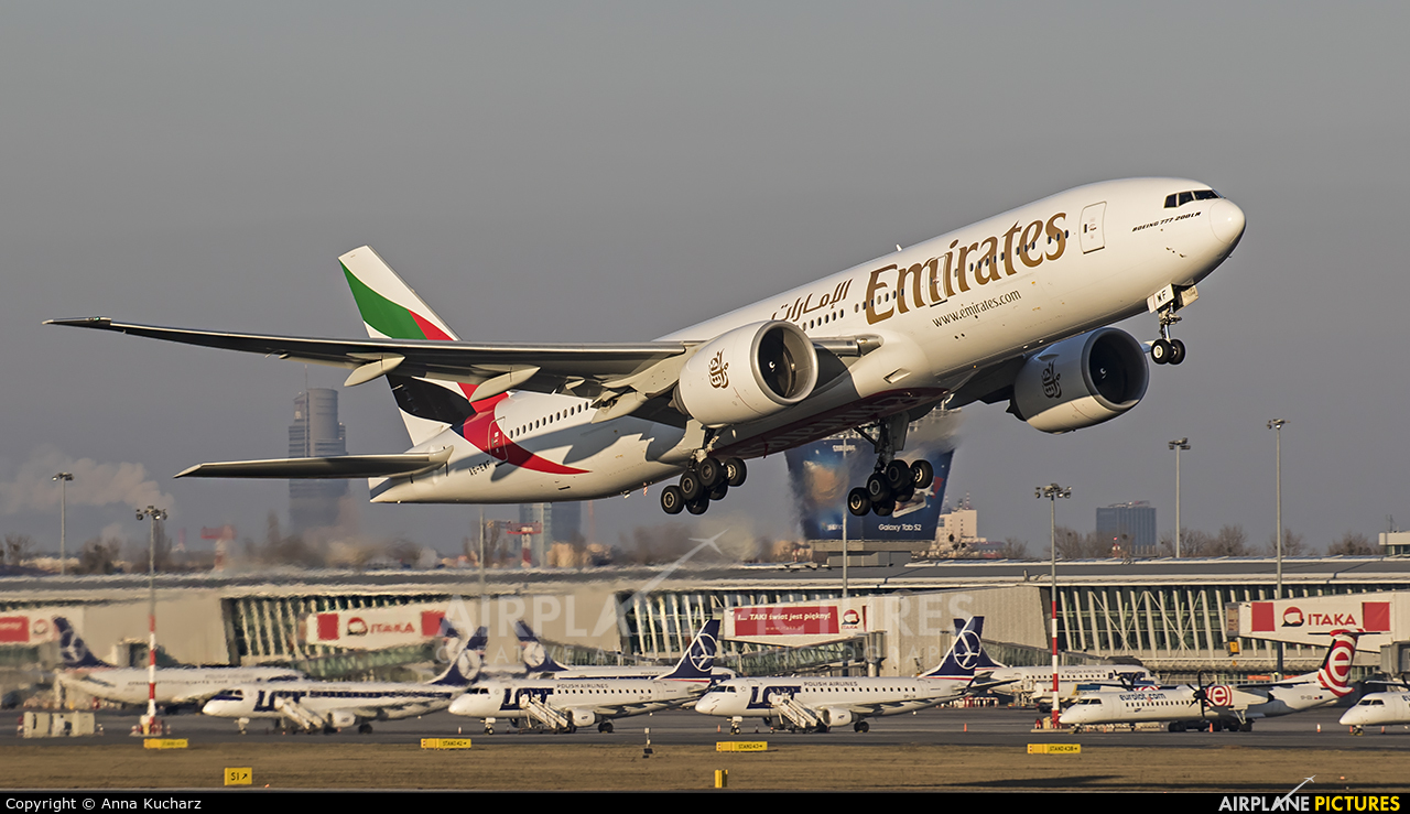 Emirates Airlines A6-EWF aircraft at Warsaw - Frederic Chopin