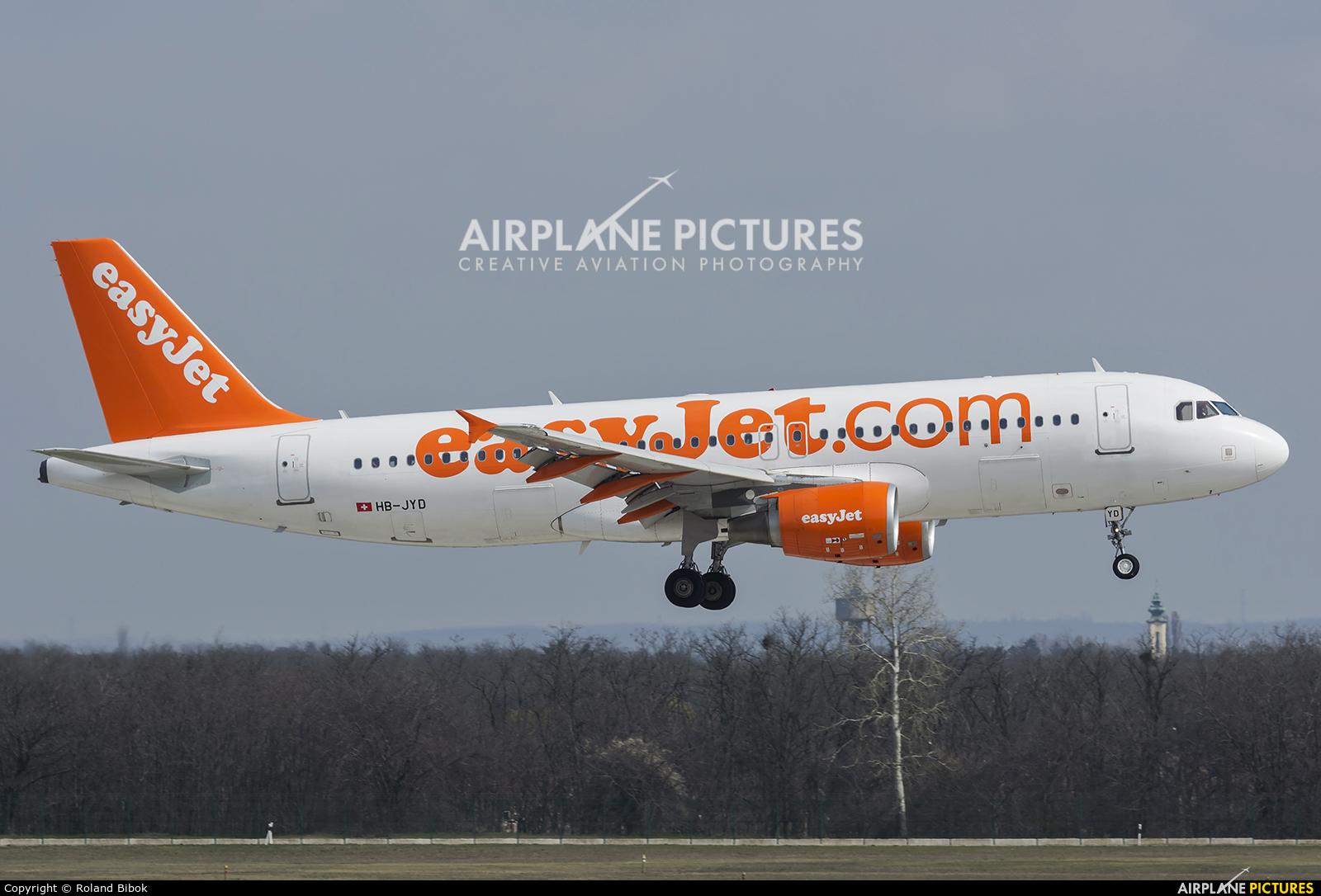 easyJet Switzerland HB-JYD aircraft at Budapest Ferenc Liszt International Airport