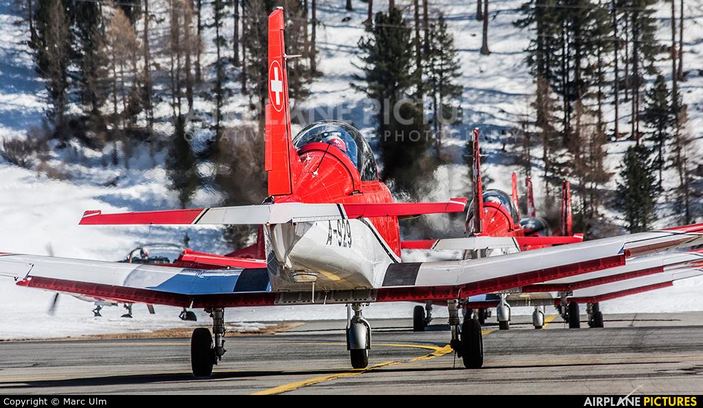 Switzerland - Air Force: PC-7 Team A-929 aircraft at Samedan - Engadin