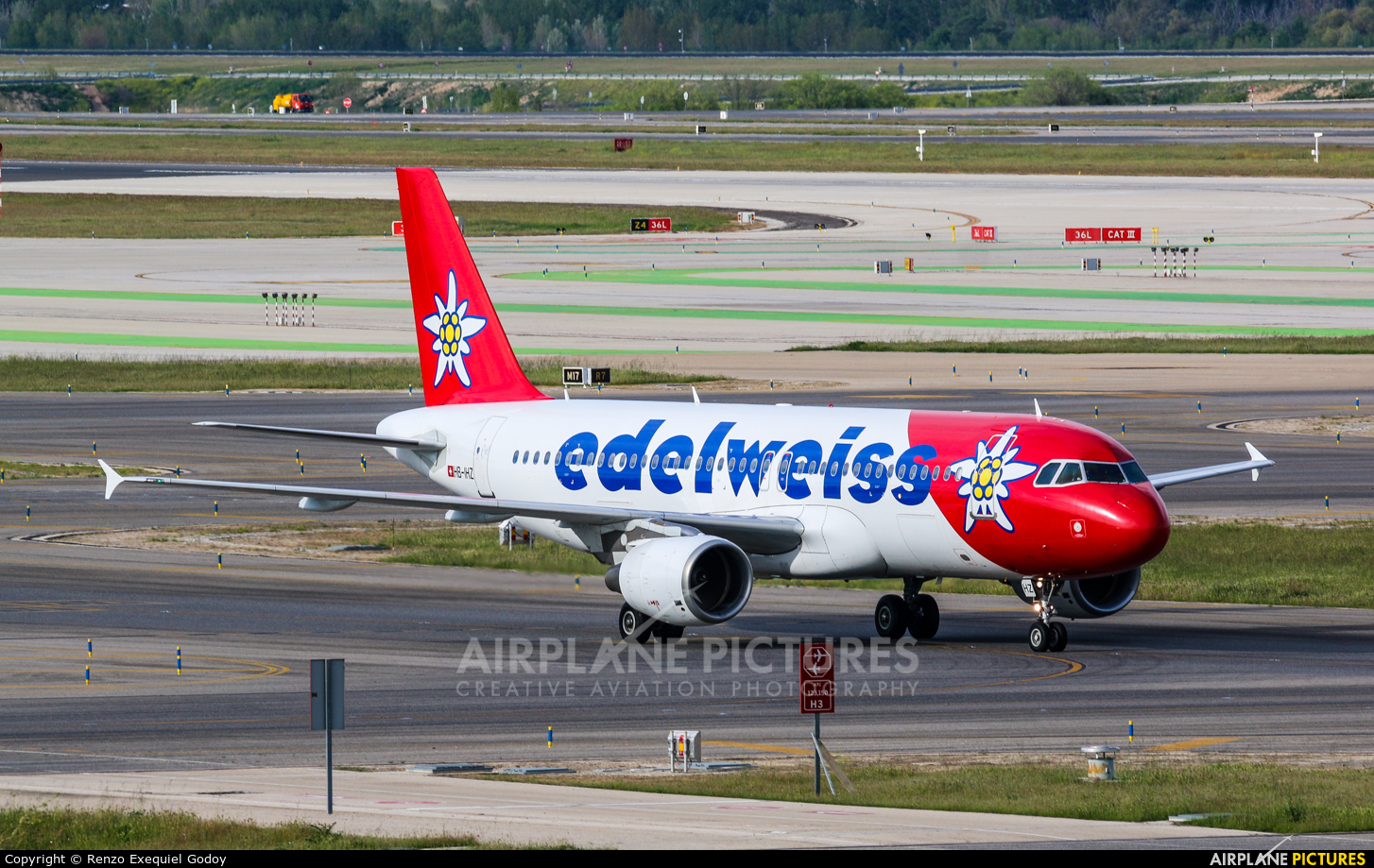 Edelweiss HB-IHZ aircraft at Madrid - Barajas