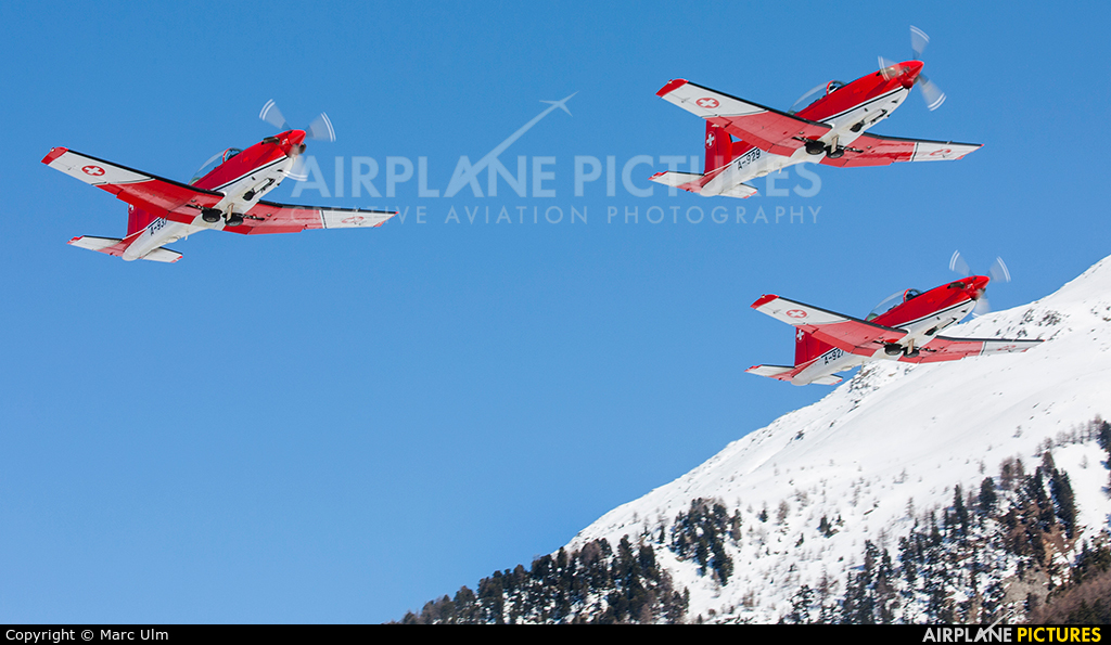 Switzerland - Air Force: PC-7 Team A-937 aircraft at Samedan - Engadin
