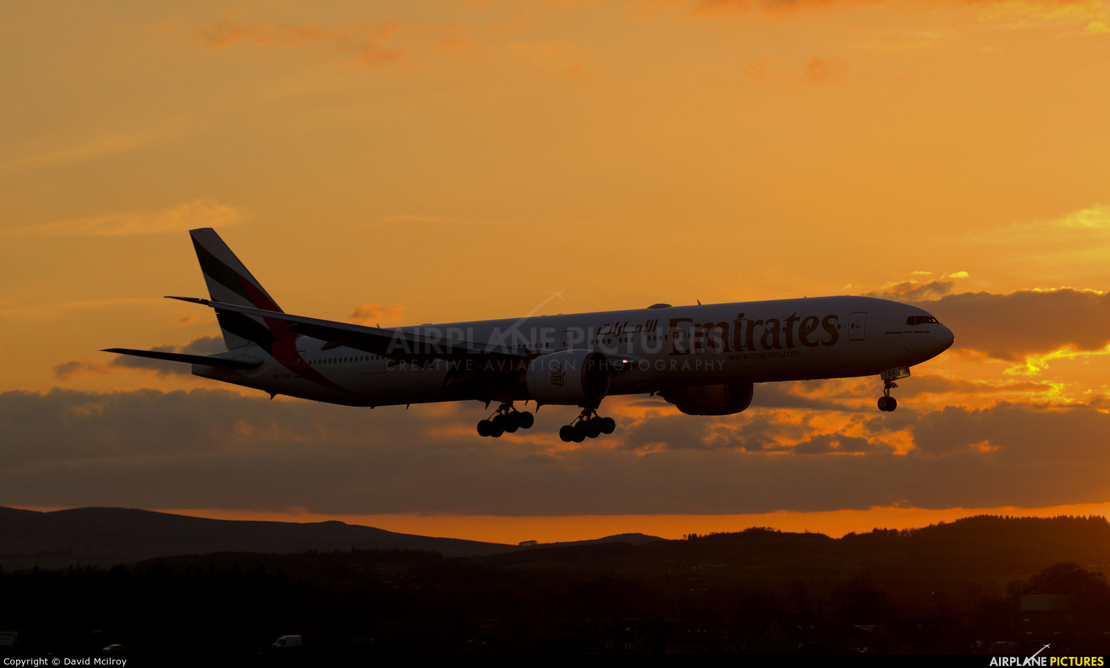 Emirates Airlines A6-EBK aircraft at Glasgow