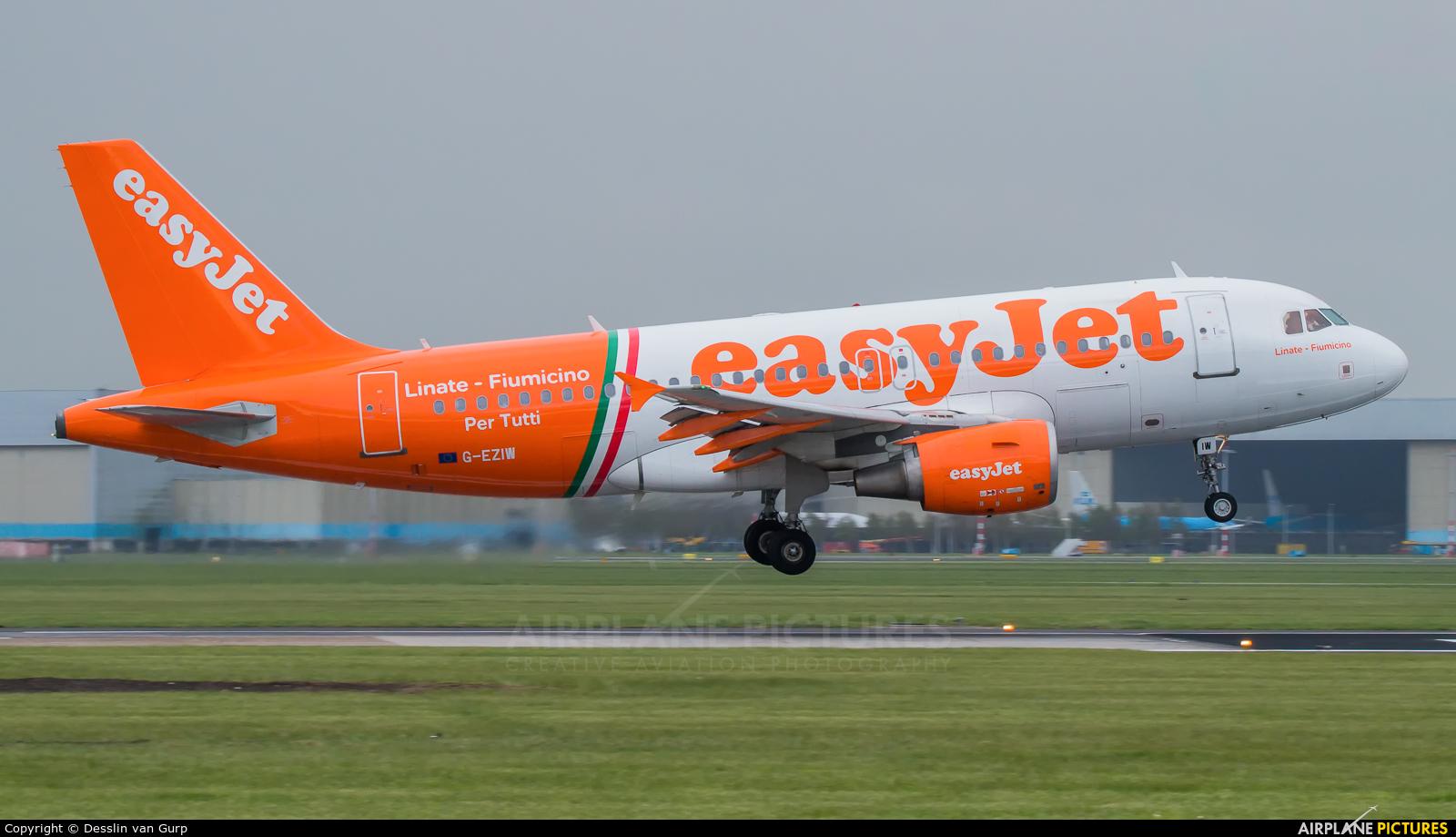 easyJet G-EZIW aircraft at Amsterdam - Schiphol