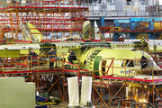 First prototype of An-132 at final assembly line title=