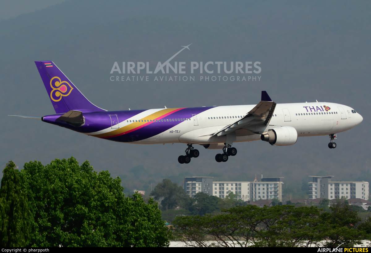 Thai Airways HS-TEJ aircraft at Chiang-Mai