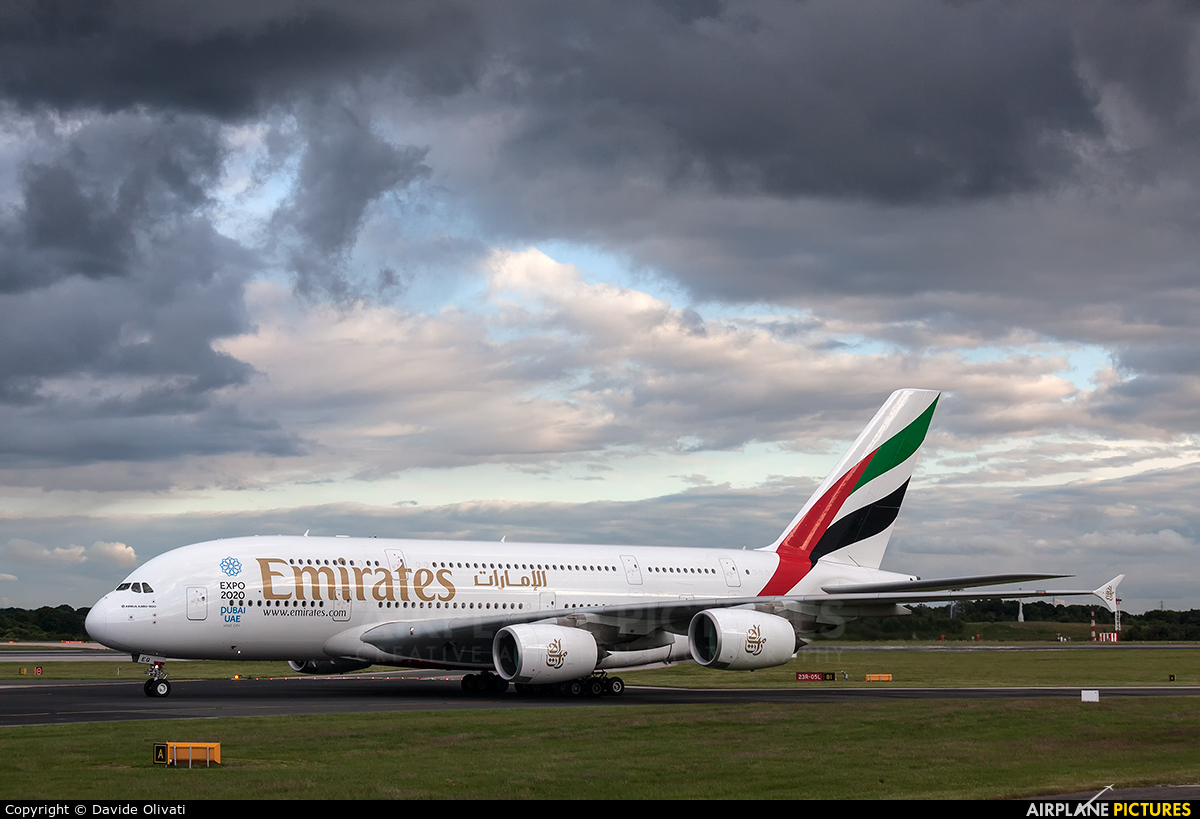 Emirates Airlines A6-EEQ aircraft at Manchester