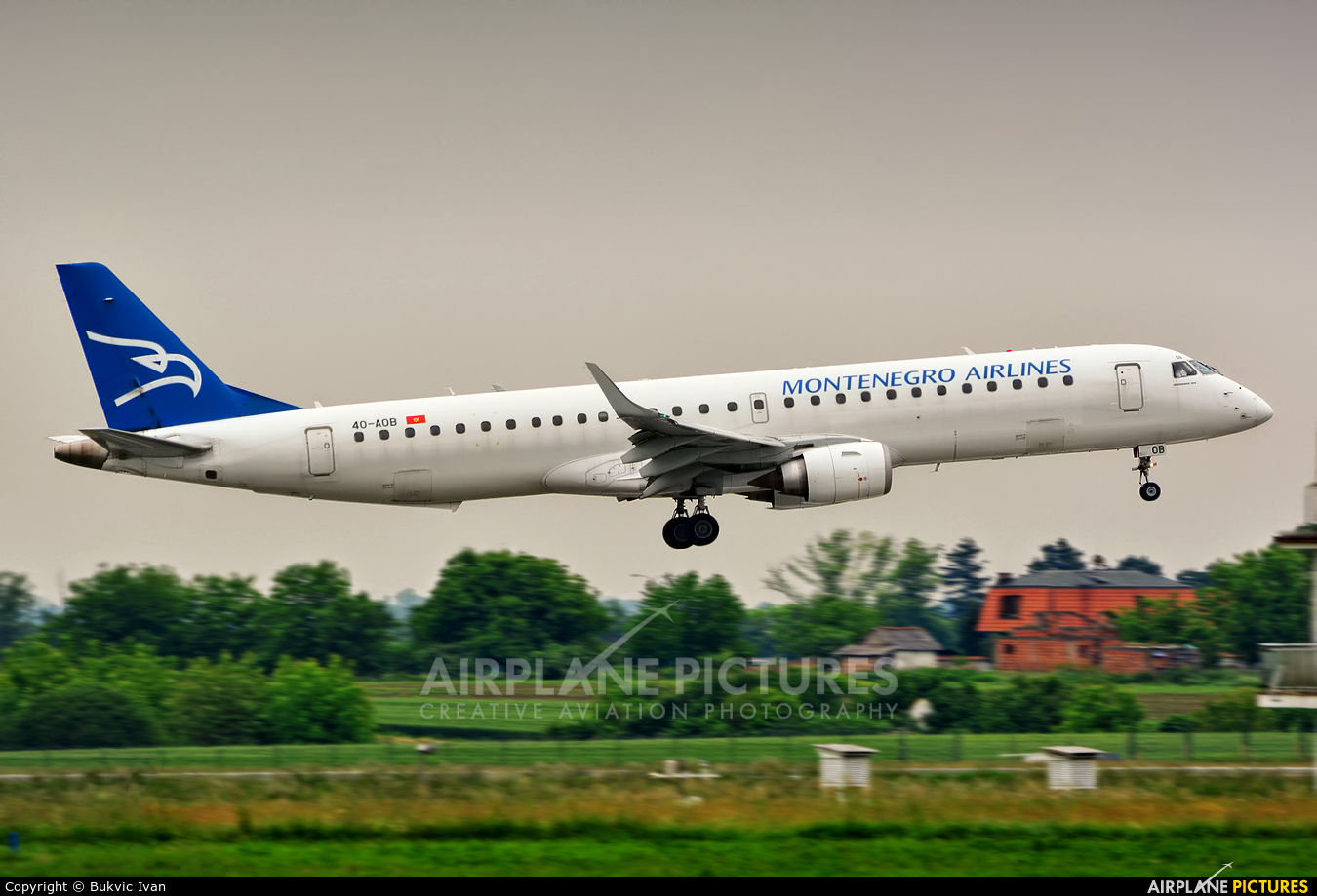 Montenegro Airlines 40-AOB aircraft at Belgrade - Nikola Tesla Intl