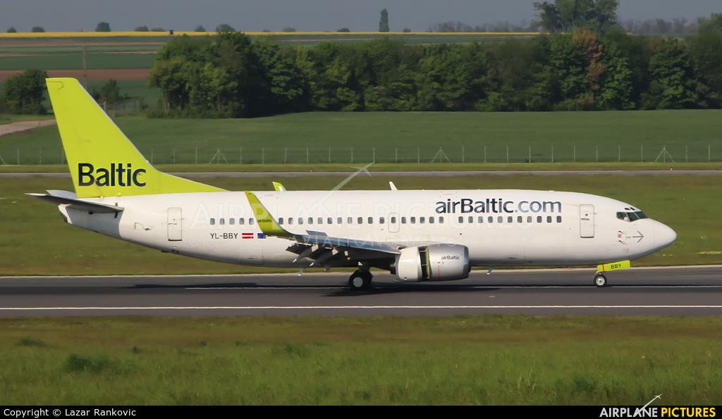 Air Baltic YL-BBY aircraft at Vienna - Schwechat